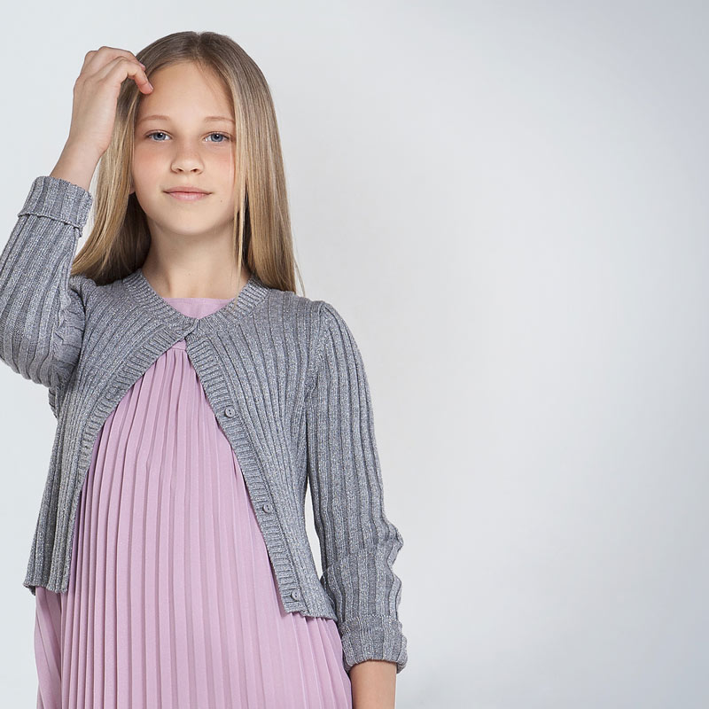 Ribbed knit cardigan for girl Steel | Mayoral