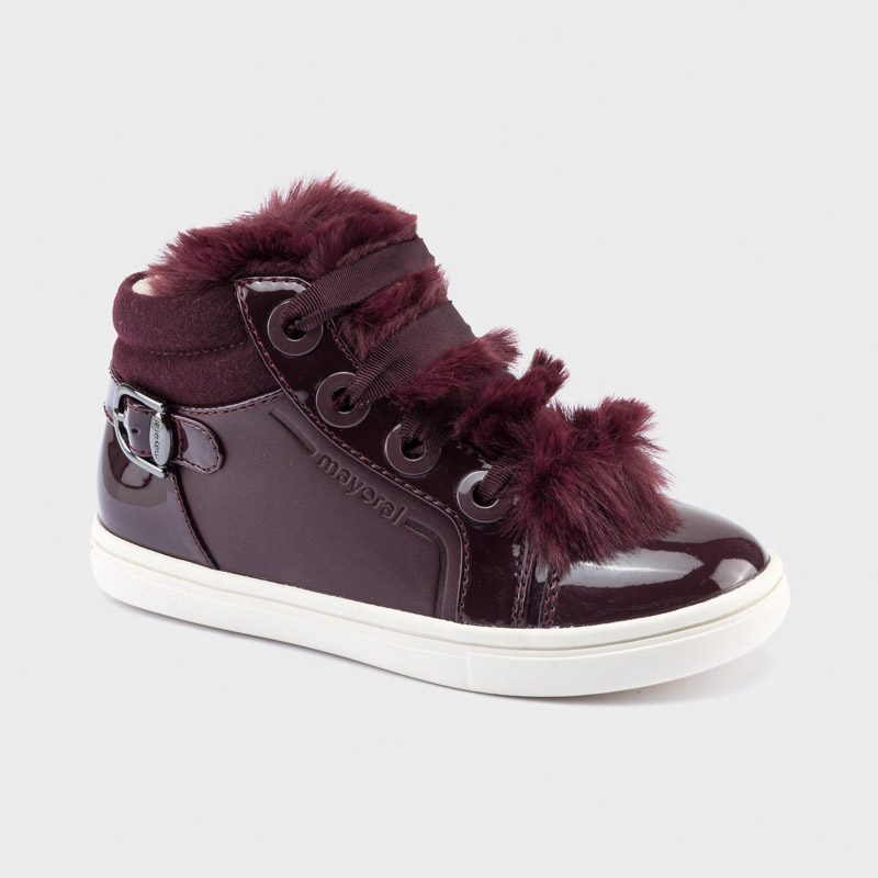 Sporty faux fur trainers for girl