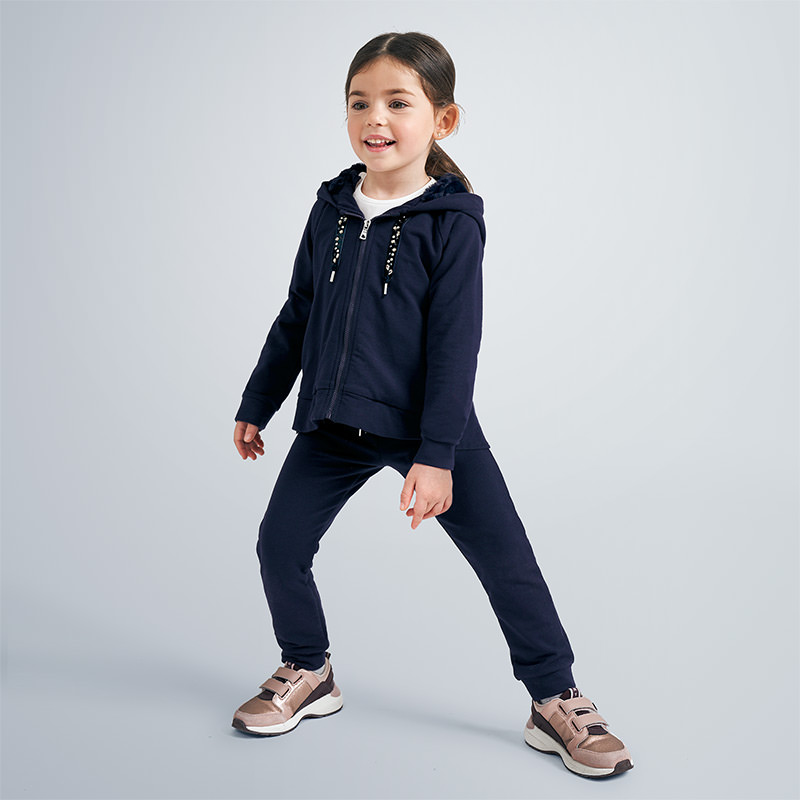 Tracksuit with sweatshirt with faux fur lined hood for girl Navy blue | Mayoral