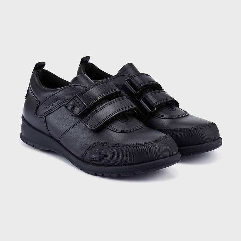 Velcro school shoes for boy Black