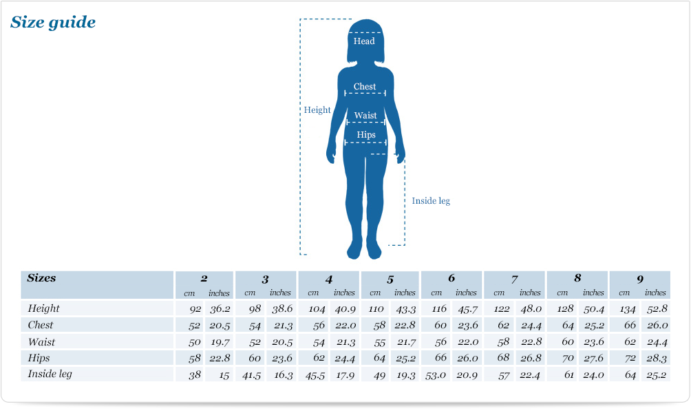 Size guide for Girl short knit jumper
