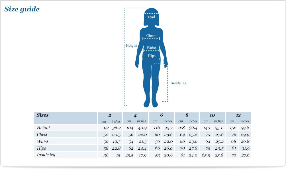 Size guide for Vest and Knickers Set